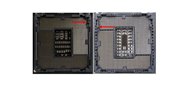 CPUソケット:左がSkylake「LGA1151」、右がBroadwell/Haswell「LGA1150」