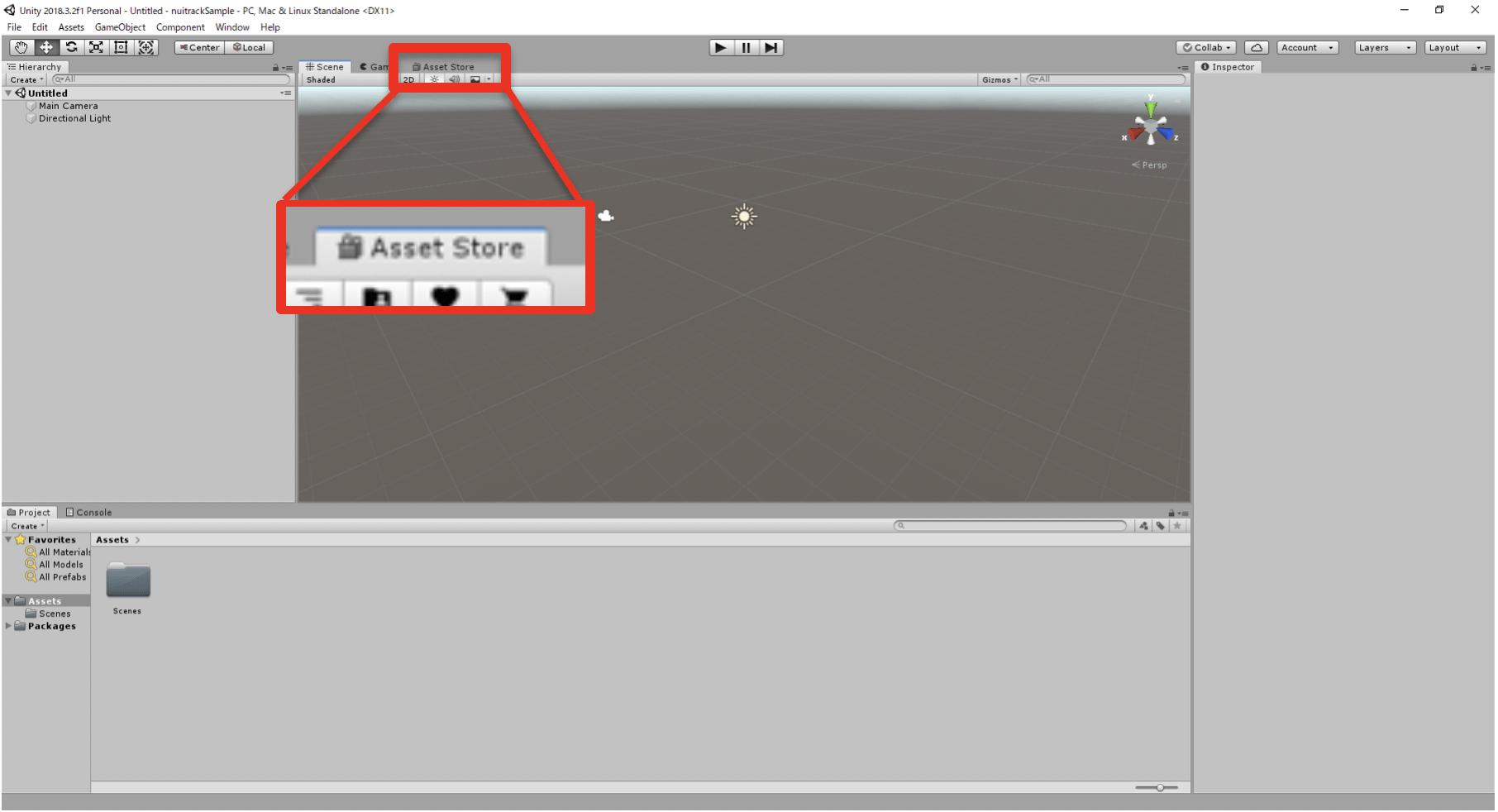画面上部の「Asset Store」タブをクリック