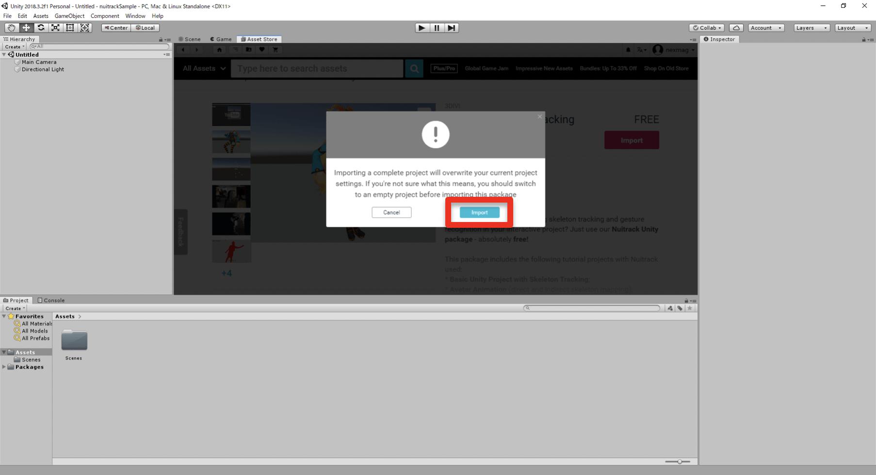 プロジェクトが完全に置き換わってしまう旨のダイアログが表示されるので確認の上「Import」ボタンをクリック