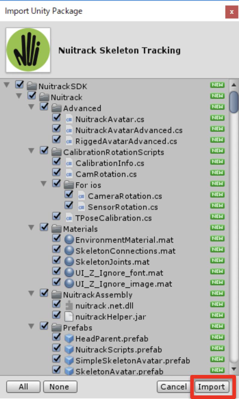 「Nuitrack SDK」配下にチェックが入っていることを確認して「Import」をクリック