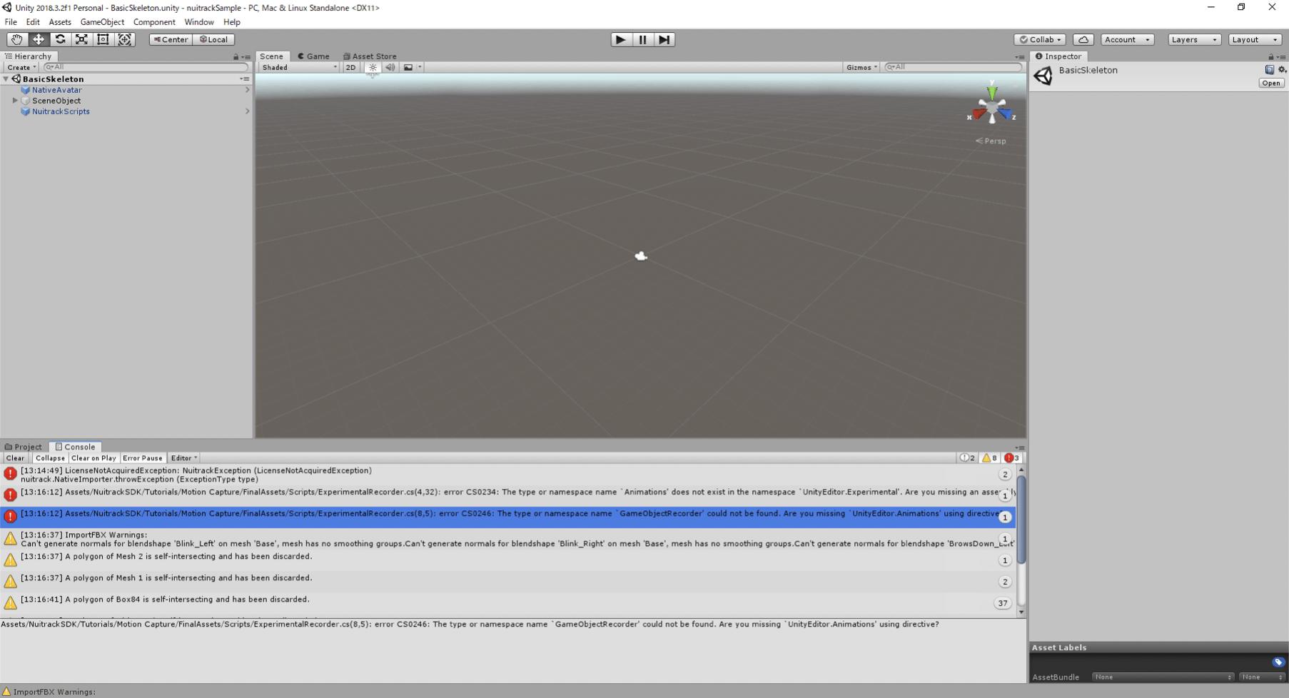 下の画面の「Project」タブの隣の「console」を開くとエラーが出ている
