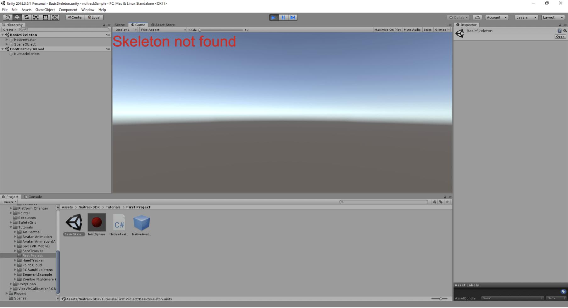 Gameビュー左上に「Skeleton not found」と赤い文字が表示される