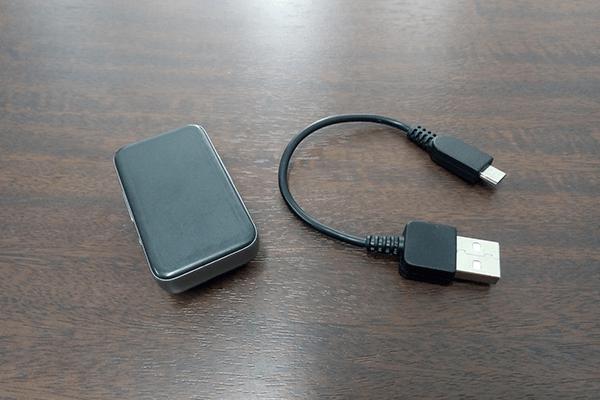 EarStudio ES100の付属品(本体と充電用Micro USBケーブル)