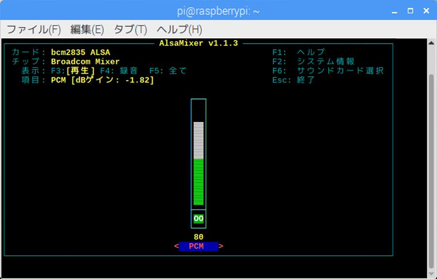 「alsamixer」画面。キーボードの上下キーで感度調整ができる