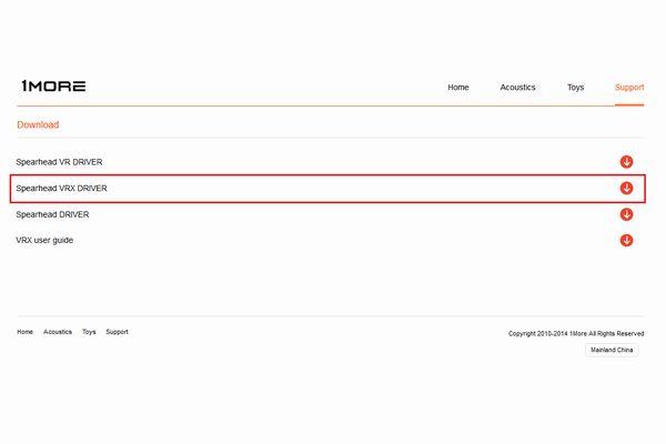 Spearhead VRX DRIVERのダウンロード画面