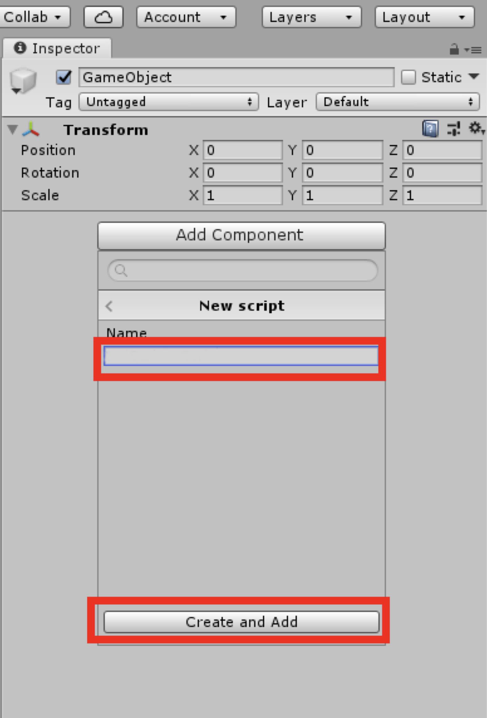 任意の名前を入力して「Create and Add」をクリック今回は「NewBehaviourScript」と命名する