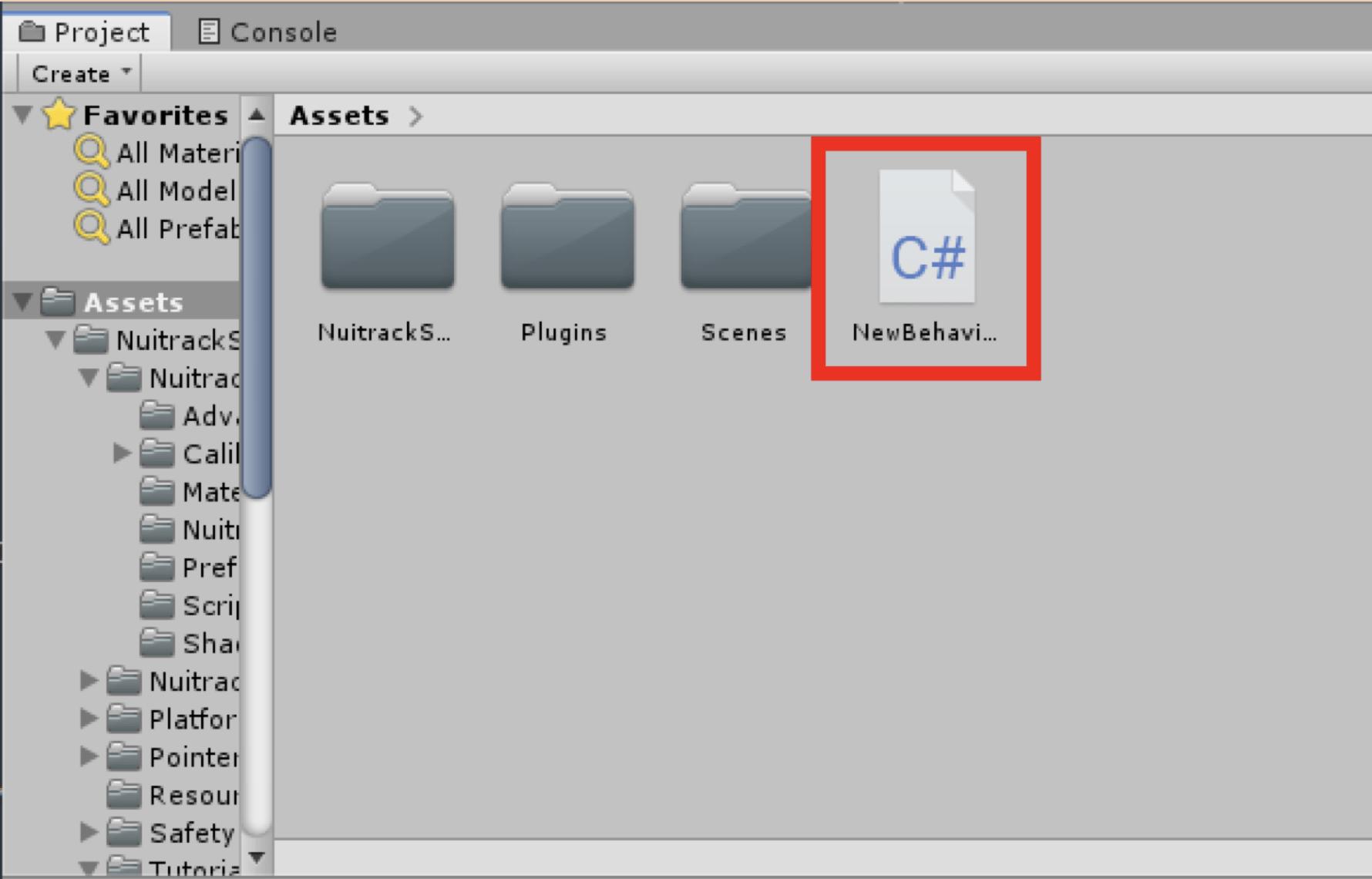 「Assets」内の階層にある、先ほど作成したスクリプトファイルを開いて編集する