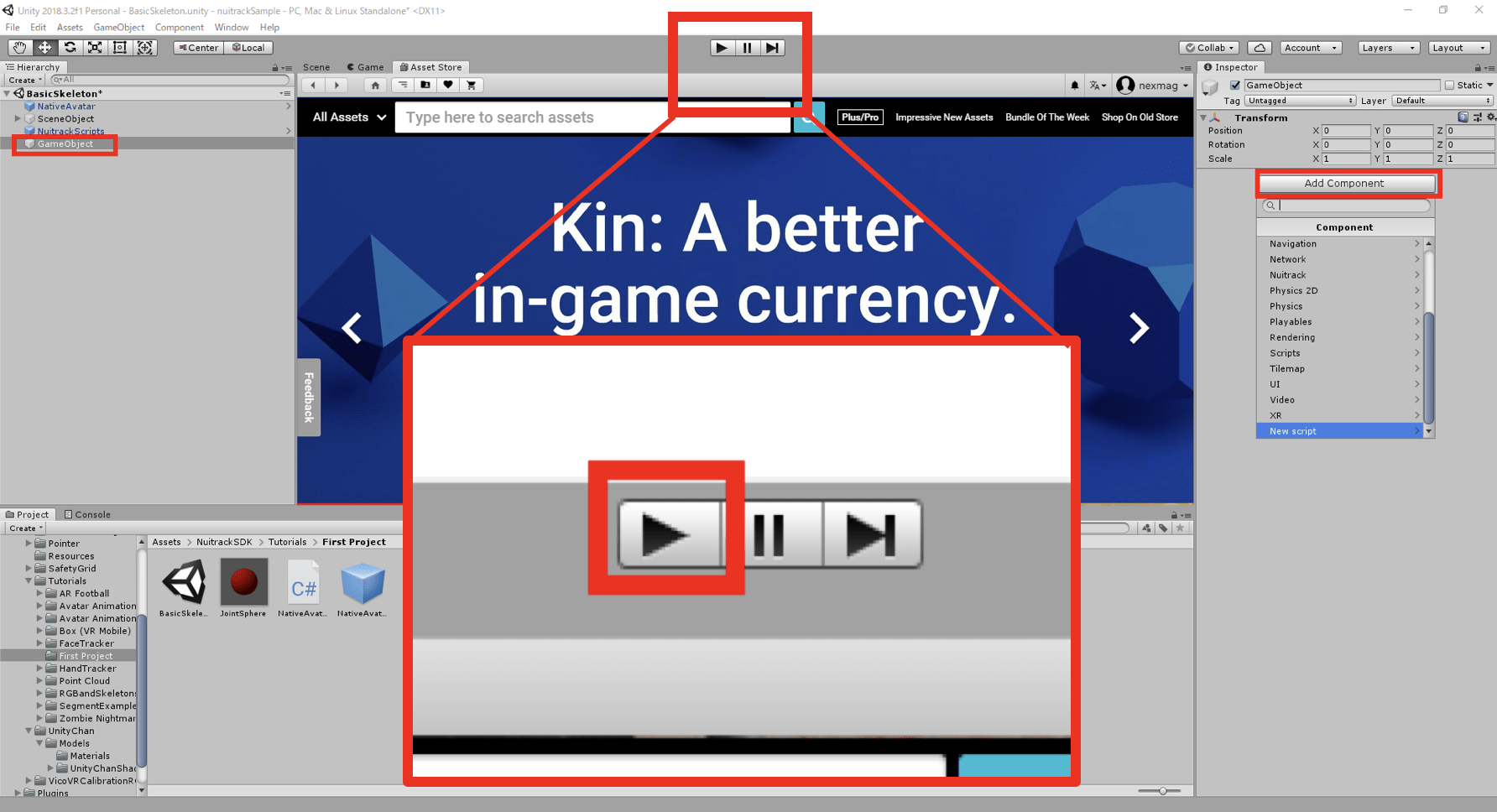Unityの画面の真ん中の再生ボタンをクリックして実行します