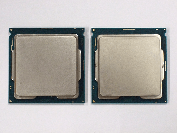 左:Core i7-9700KF、右:Core i7-9700K CPU表面は同じ形状です。