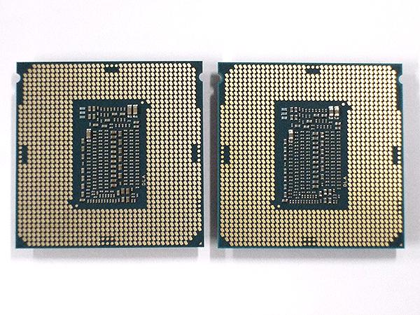 左:Core i7-9700KF、右:Core i7-9700K CPU裏面のキャパシタ配置も同じです。