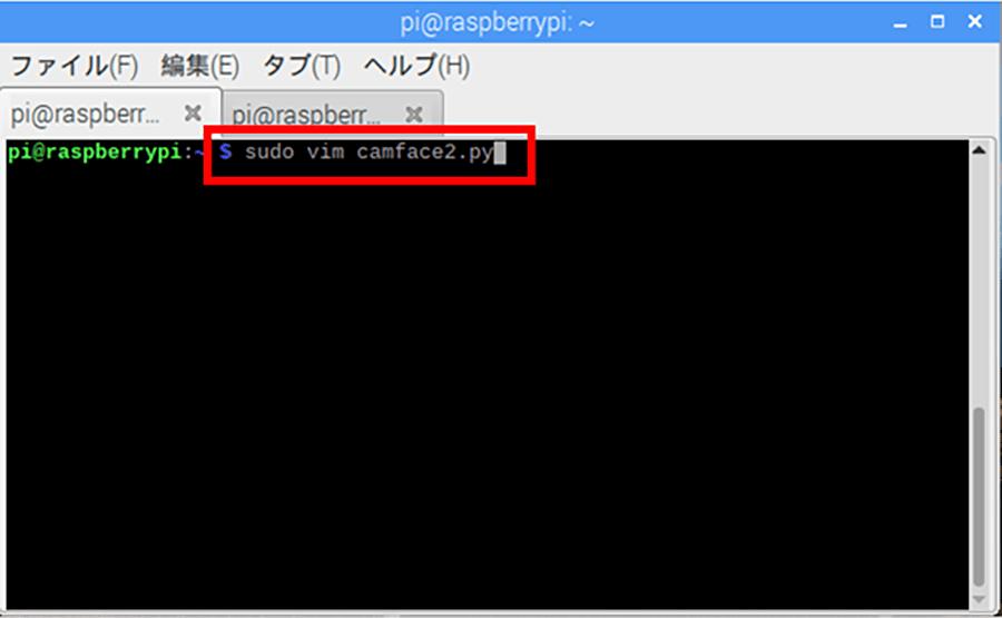 上記コマンドで「camface2.py」を作成する画面を開く