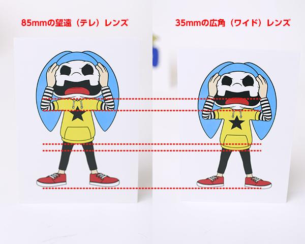 85mmの望遠(テレ)レンズと35mmの広角(ワイド)レンズの歪みの違い