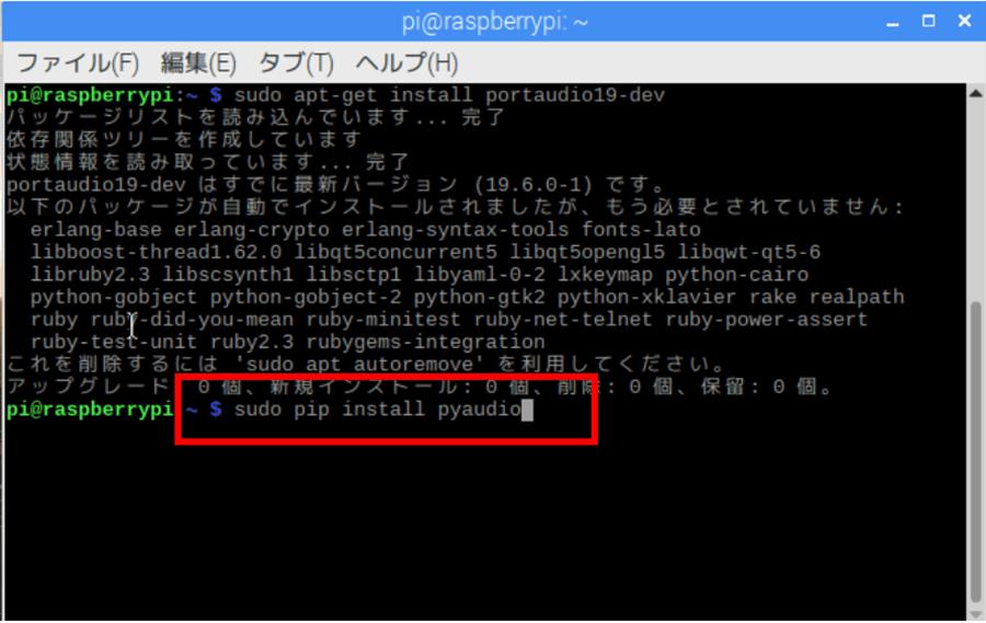 sudo apt-get install python3-pyaudio実行画面