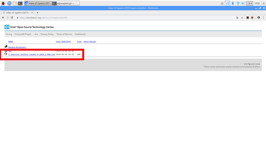 OpenVINOのToolkitのダウンロードページ