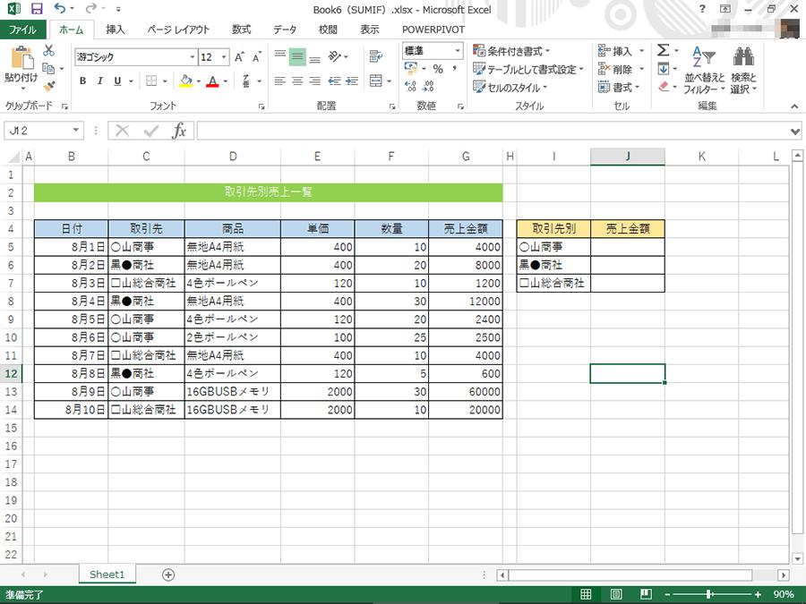 特定の条件に当てはまるデータのみ合計