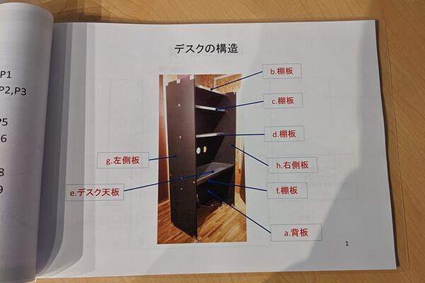 OTONA基地に付属のマニュアル(デスクの構造)