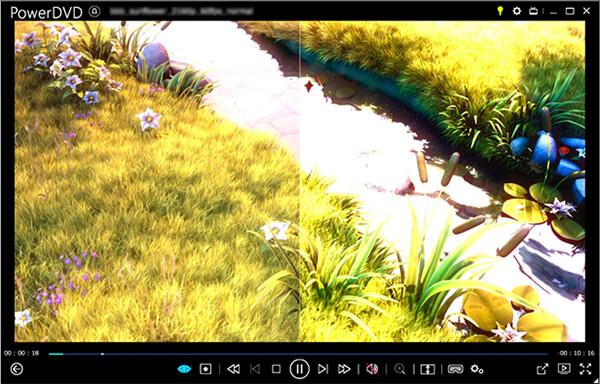PowerDVD 19のHDRサンプル 画面左:通常画質、画面右:HDR画質