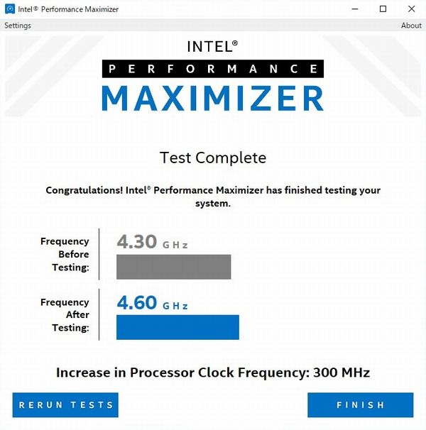 Intel Performance Maximizerパフォーマンスアップ設定用のテスト完走時の画面