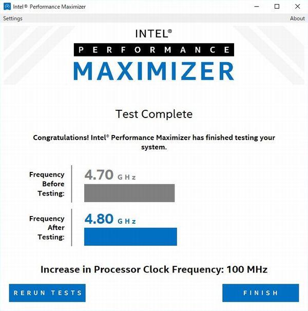 Intel Performance MaximizerのCore i9-9900K + ETS-T40F-TBでのテスト結果