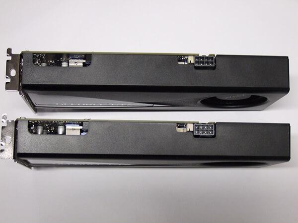 ZOTAC製GeForce GTX 1660 SUPER(上)の上部。ZOTAC製GeForce GTX 1660(下)と同じです。