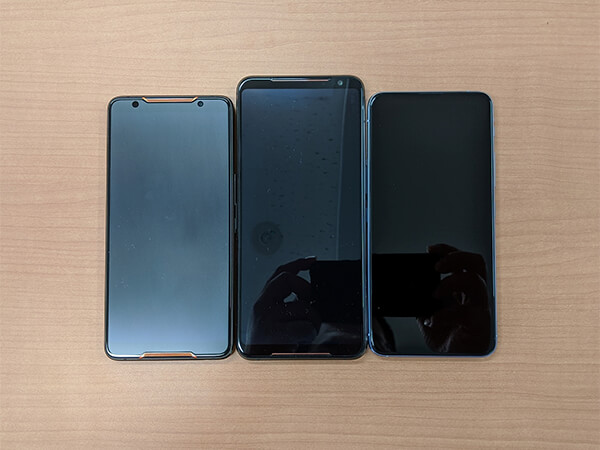 ASUS ROG Phone 2とROG Phone、ZenFone6外観比較(正面)