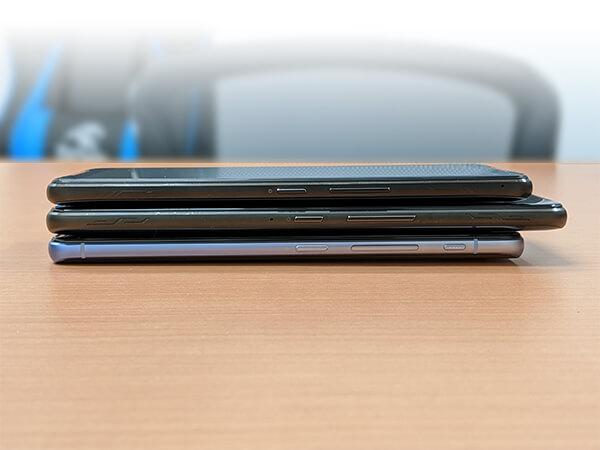 ASUS ROG Phone 2とROG Phone、ZenFone6外観比較(側面)