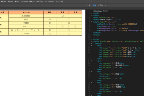 Dreamweaver colspanやrowspanを含む表を簡単に作るのイメージ画像