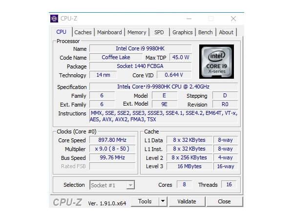 インテルNUC9i9QNXベンチマーク:CPU-Z CPUベンチ