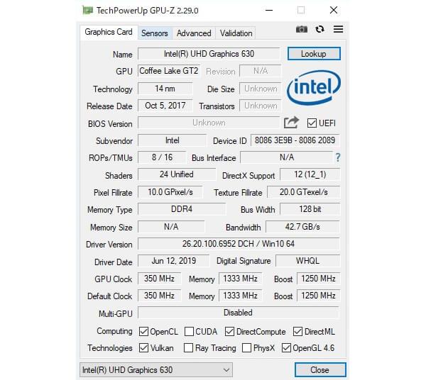 インテルNUC9i9QNXベンチマーク:GPU-Z iGPUベンチ・dGPUベンチ