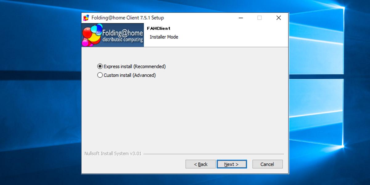Folding@home インストール方法選択画面