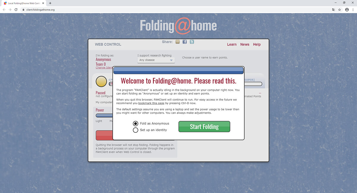 Folding@home WEBコントロール画面