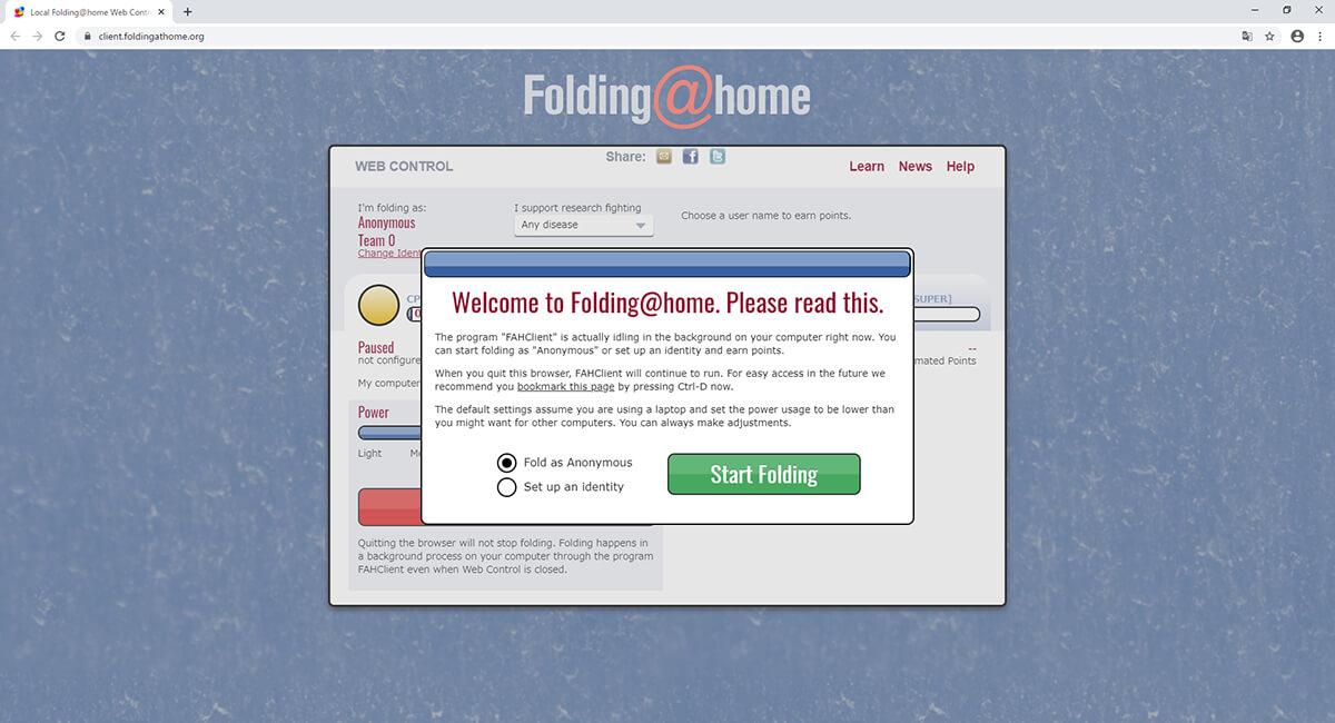 Folding@home WEBコントロール画面