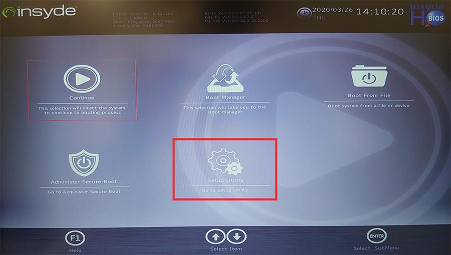 UEFI画面にて、「Setup Utility」をクリック