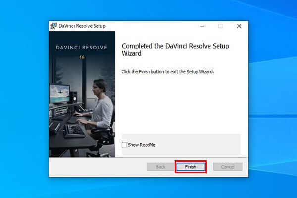 DaVinci Resolveのインストール完了ダイアログ