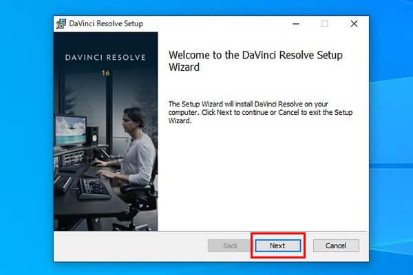 DaVinci Resolveセットアップウィザード画面