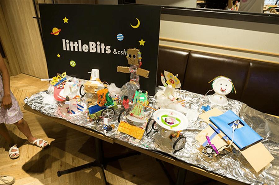 過去にクスールが開いたlittleBitsの講座風景より。講座を通じて子どもたちは作品づくりに励み、何を作ったのかを発表します