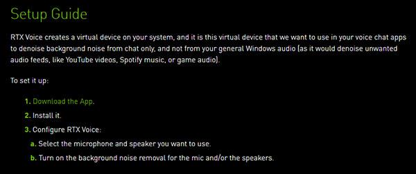 NVIDIA RTX Voiceのページ