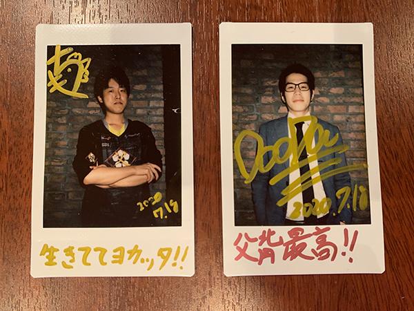 OooDa氏とKINCHI選手のサイン入りチェキ