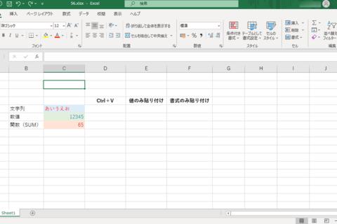 Excelで「値のみ」「書式のみ」をペーストできるショートカットキーのイメージ画像