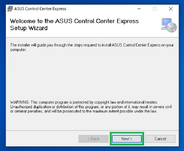 ASUS Control Center Expressインストール手順1