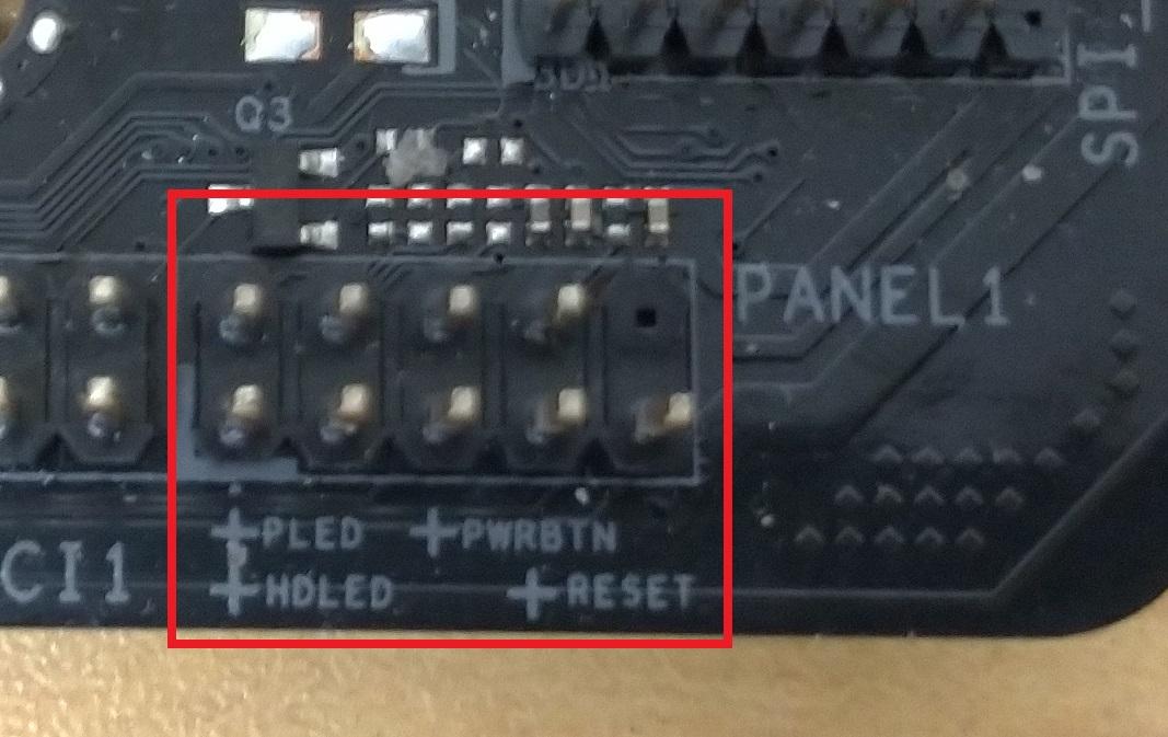 マザーボード上のFrontPanel用コネクタ