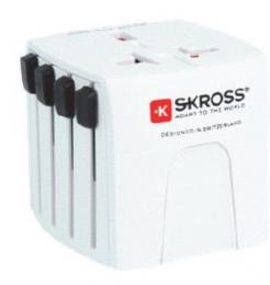 <パソコン工房> ヒューズ付USB2ポートアダプタ。USBポートが未装着で、最も小型でシンプルなタイプとなります。シンプルでありながらも世界の主要国を完全にカバーしています。 SKROSS-MUV M