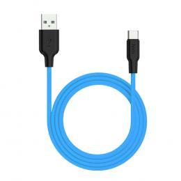 [HOCO]X21Plus シリコン充電ケーブル Type-C 1.0m ブルー / X21P-TC10-BL