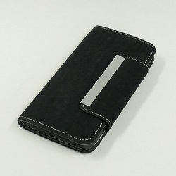 J799 i6 革バックスキン風 ブラック Mobile phone cover(NT)