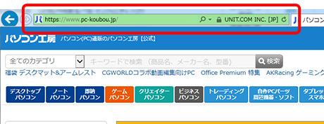 Internet Explorer11の表示例