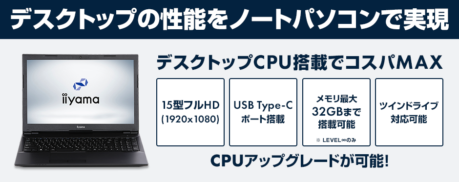 iiyama デスクトップCPU搭載ノートパソコン