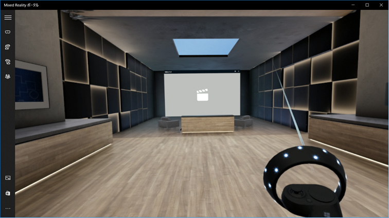 図:映画館のような場所も。ここでは360°動画をダウンロードして楽しむことができます。