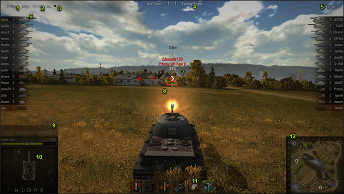 World of Tanks 戦闘画面