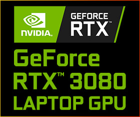 NVIDIA® GeForce RTX™ 3080 LAPTOP GPU 16GB GDDR6 搭載