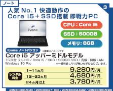 Core i5 アッパーミドルモデル15インチ